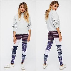 Free People Geo Patchwork Sweater Knit Leggings